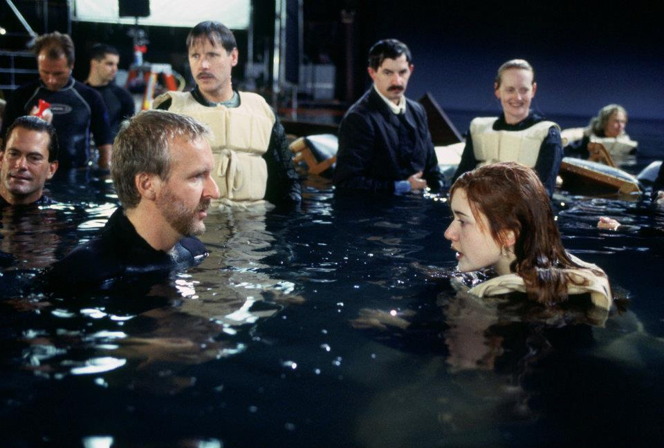 со съемок Титаник Джеймс Кэмерон, Кейт Уинслет, Леонардо ДиКаприо,