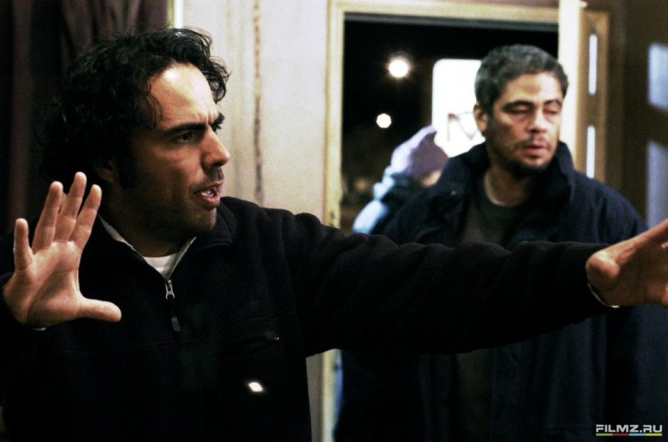 со съемок 21 грамм Алехандро Гонсалес Иньярриту, Бенисио Дель Торо,