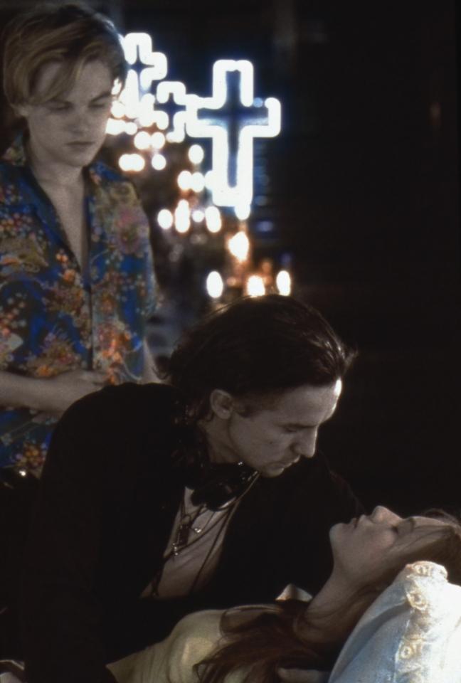 со съемок Ромео + Джульетта Леонардо ДиКаприо, Баз Лурманн, Клэр Дэйнс,