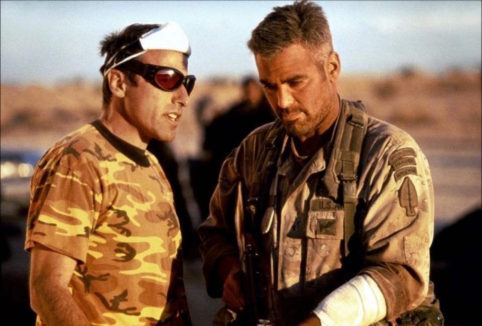 со съемок Три короля Джордж Клуни, Дэвид О. Рассел,