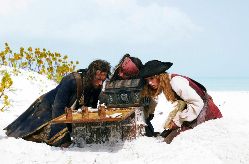 кадры из фильма Пираты Карибского моря: Сундук мертвеца Джек Дэвенпорт, Кира Найтли, Джонни Депп,