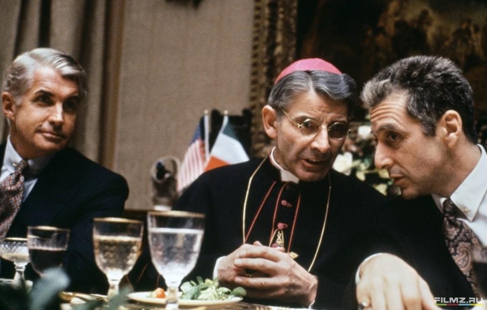 кадры из фильма Крестный отец, часть III Донал Доннелли, Джордж Хэмилтон, Аль Пачино,