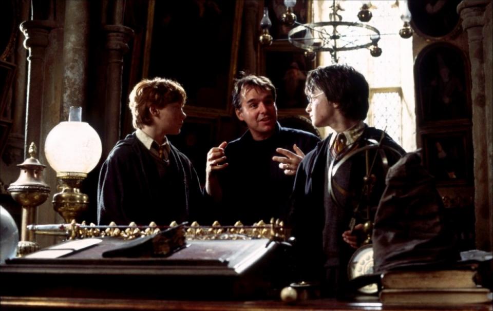 со съемок Гарри Поттер и Тайная комната Дэниэл Рэдклифф, Руперт Гринт, Крис Коламбус,