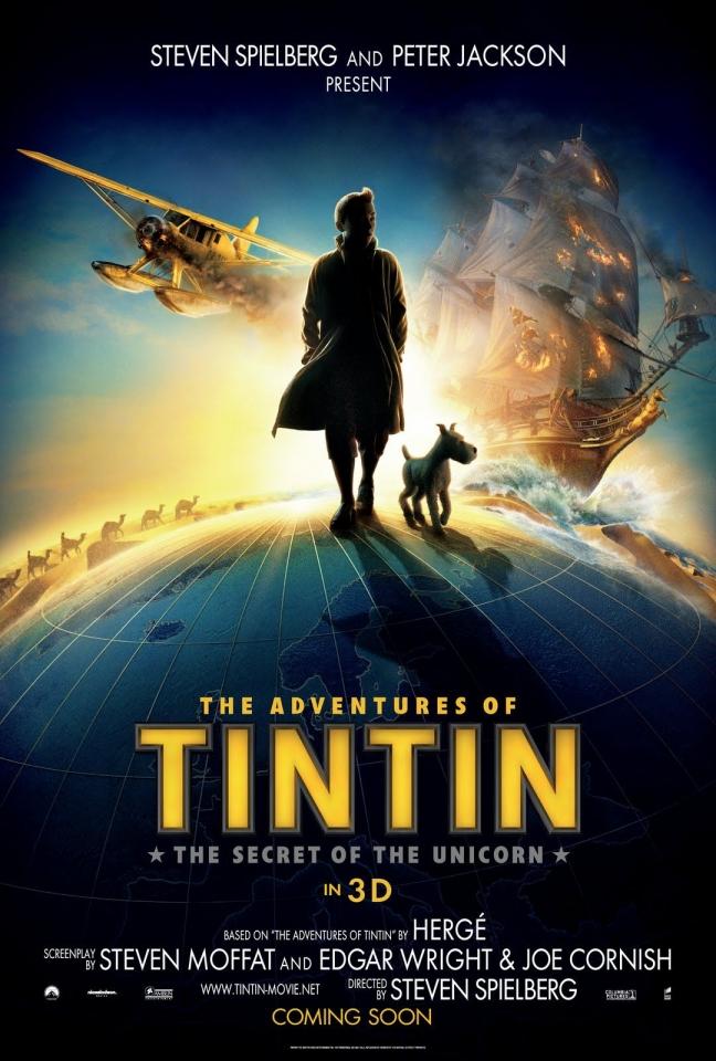 плакат фильма тизер Приключения Тинтина: Тайна единорога