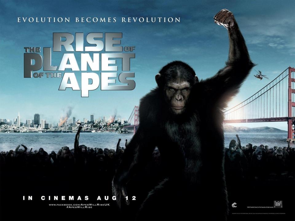 плакат фильма биллборды Восстание планеты обезьян
