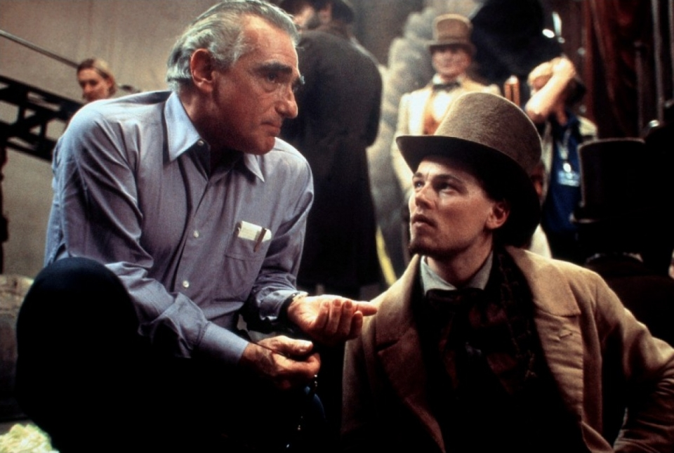со съемок Банды Нью-Йорка Мартин Скорсезе, Леонардо ДиКаприо,