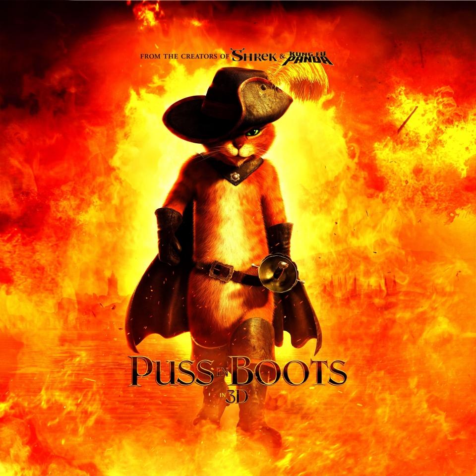 плакат фильма характер-постер биллборды Кот в сапогах