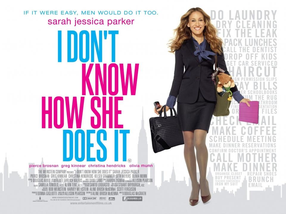 плакат фильма биллборды Я не знаю, как она делает это
