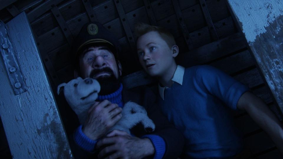 кадры из фильма Приключения Тинтина: Тайна единорога Энди Серкис, Джейми Белл,
