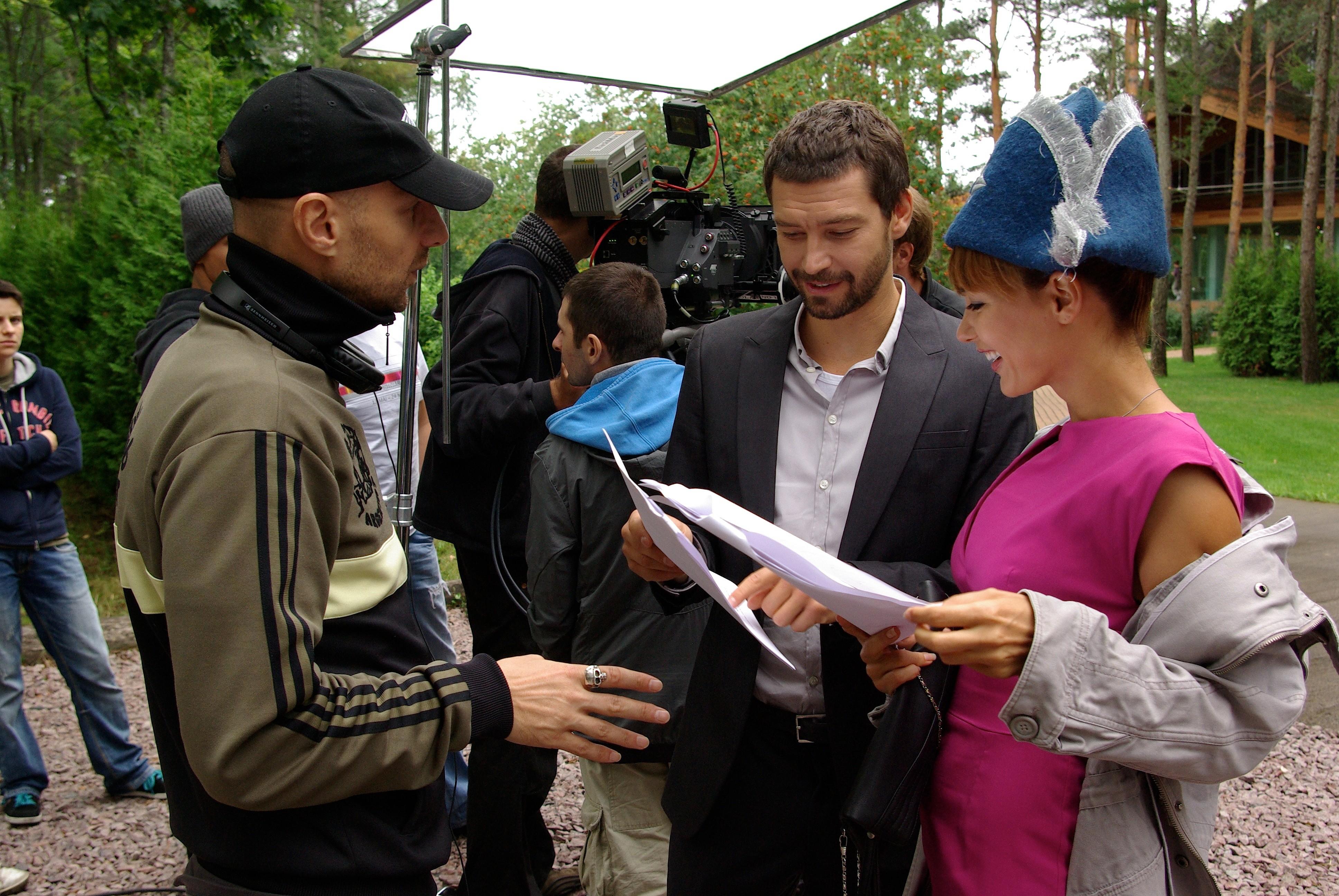 со съемок Свидание Юсуп Бахшиев, Владимир Кристовский, Екатерина Климова,