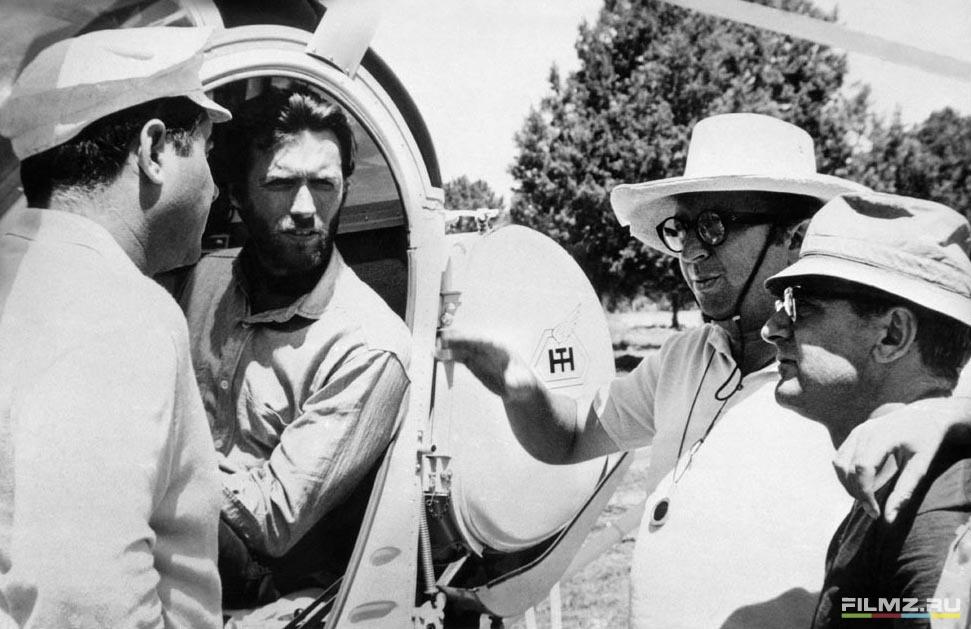 со съемок Хороший, плохой, злой Серджио Леоне, Клинт Иствуд,