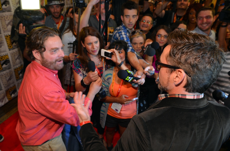 фотосессия «Железный человек 3» на Comic-Con 2012 Зак Галифианакис, Роберт Дауни-мл.,