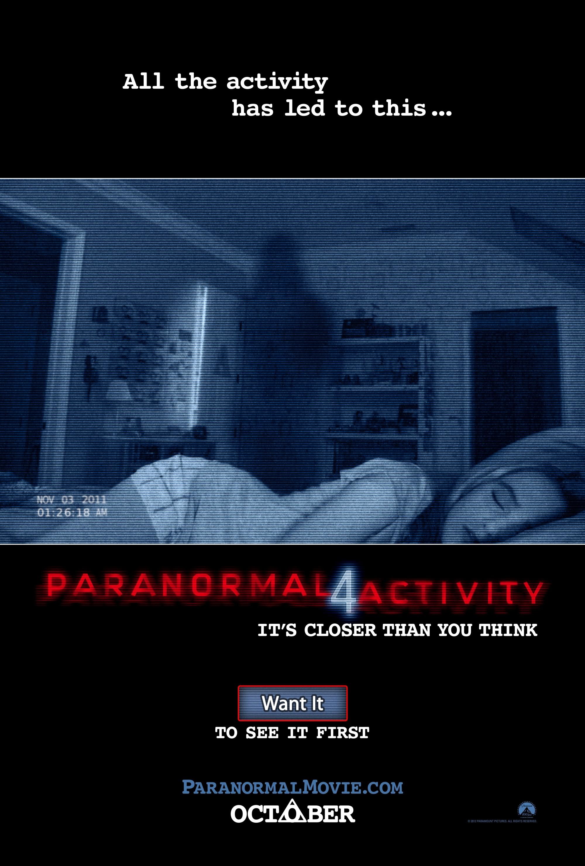 плакат фильма постер Паранормальное явление 4