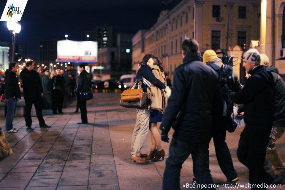 со съемок Всё просто Константин Крюков, Соня Карпунина,