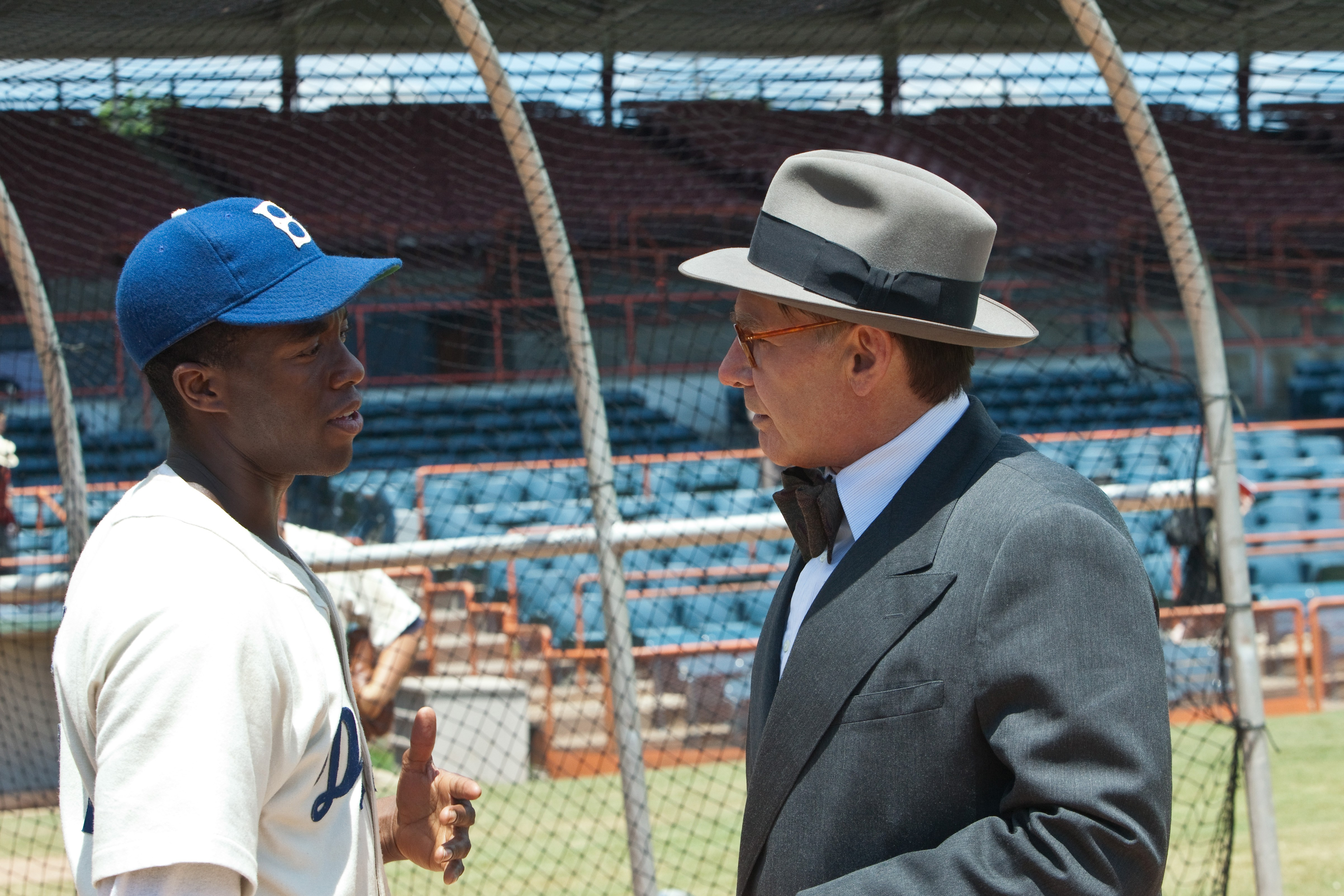 the movie 42 Jackie robinson's story is so blue-sky heroic and transcendent, it becomes hard for any filmmaker to run the bases without falling into emotional goo (tellingly, the first attempt, in 1950.