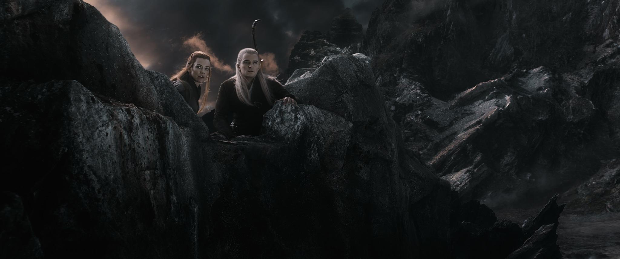 кадры из фильма Хоббит: Битва пяти воинств Эванджелин Лилли, Орландо Блум,
