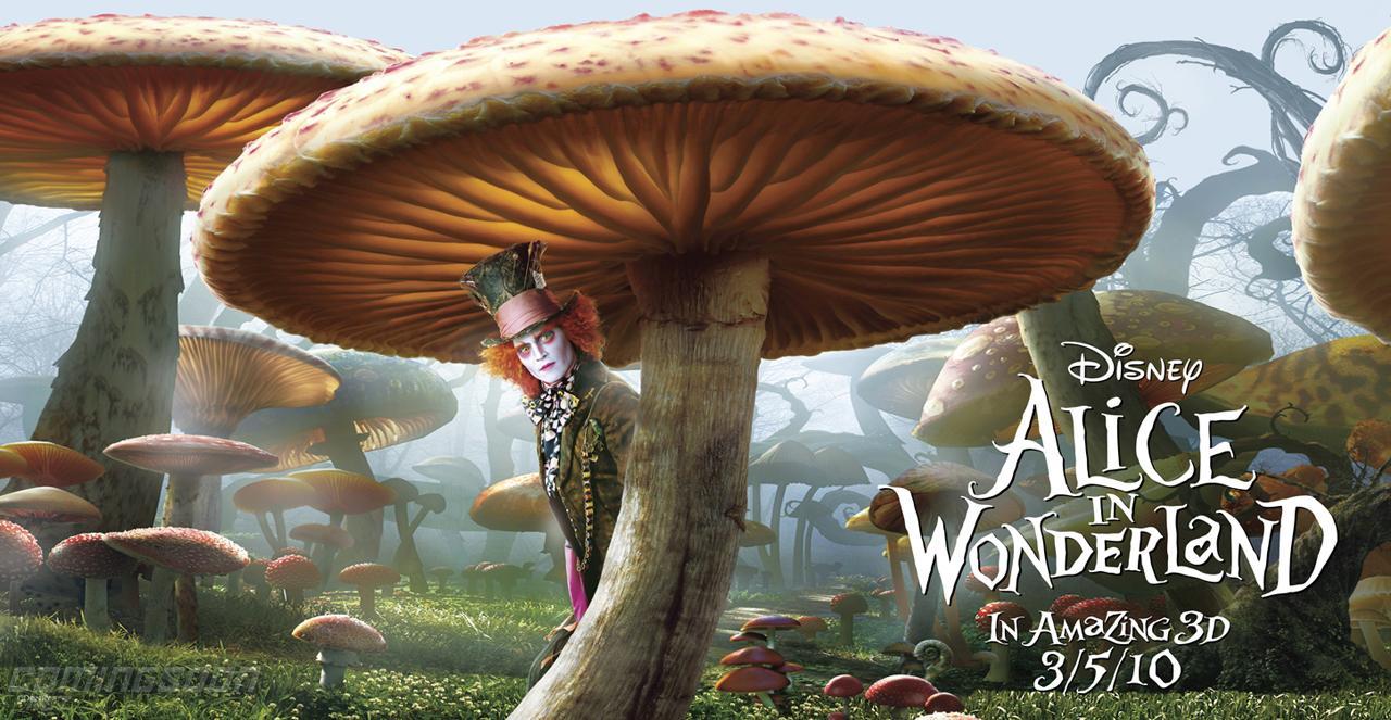 плакат фильма Алиса в Стране чудес Джонни Депп,