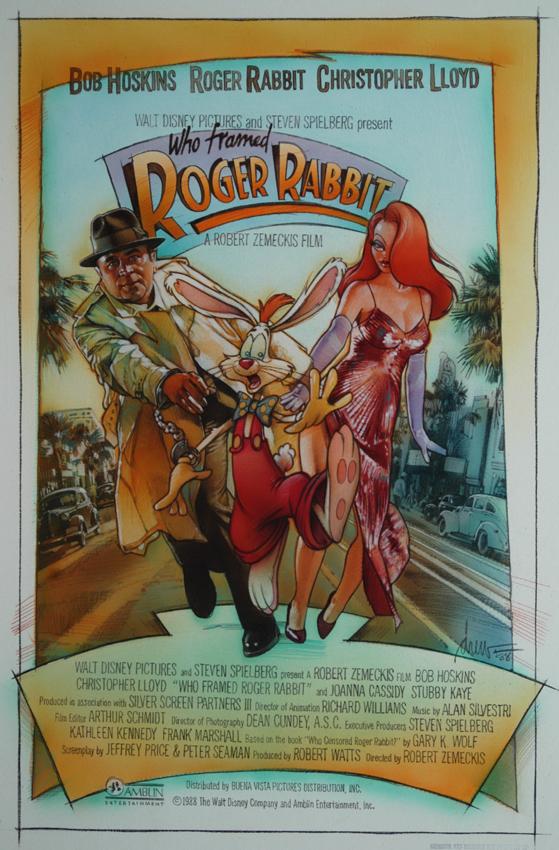 плакат фильма постер неиспользованный эскиз Дрю Струзан Кто подставил кролика Роджера