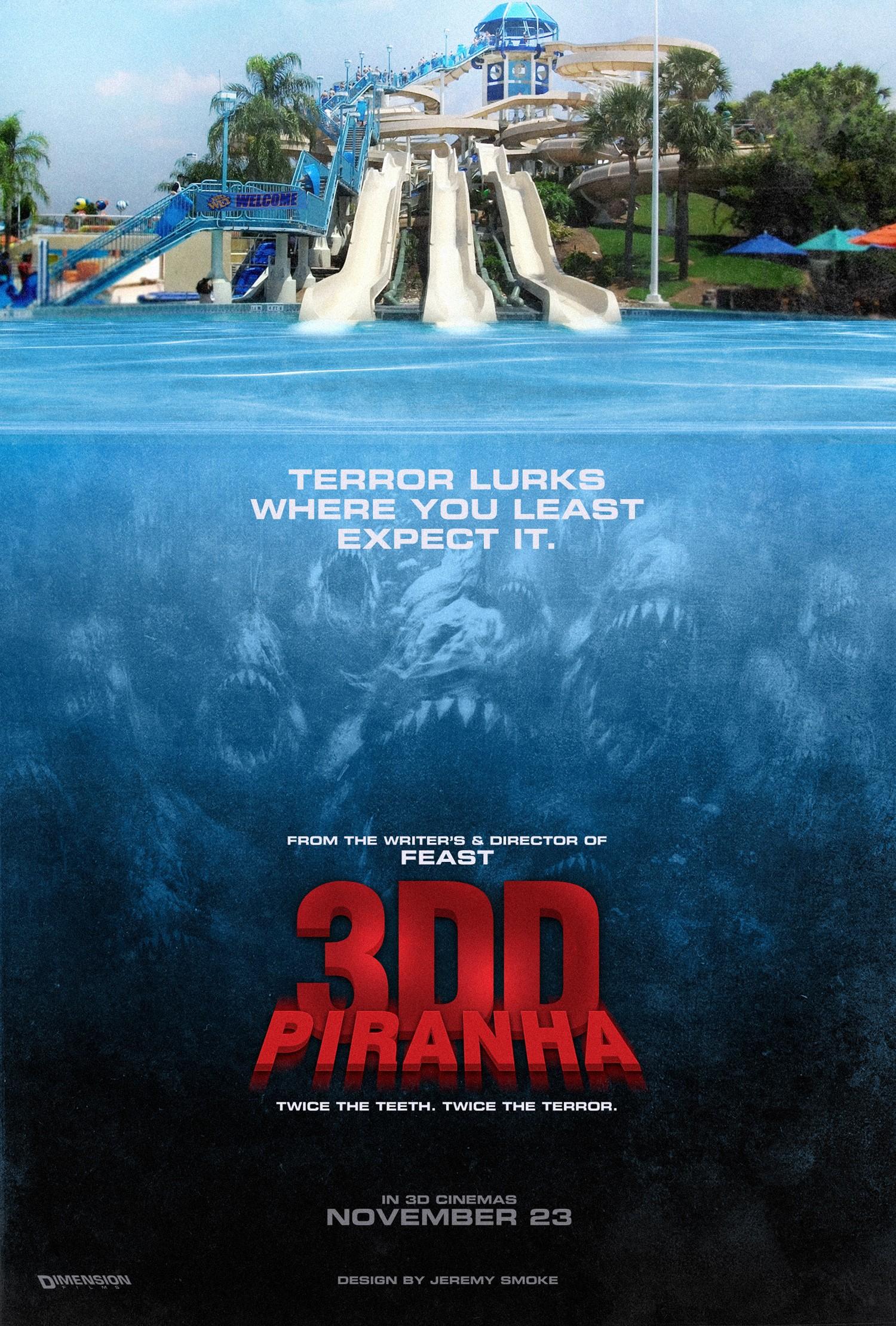плакат фильма тизер Пираньи 3DD