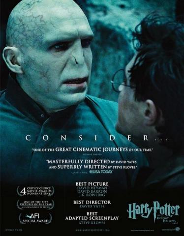 плакат фильма «Оскаровская» кампания Гарри Поттер и Дары Смерти: Часть вторая