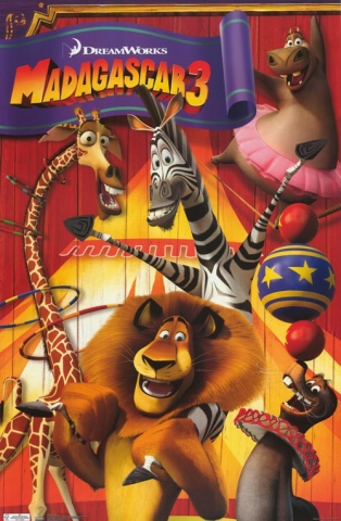 плакат фильма постер Мадагаскар 3 в 3D