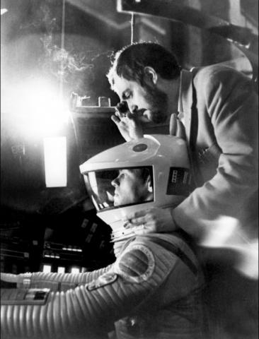 со съемок 2001: Космическая одиссея Кир Дюллеа, Стэнли Кубрик,