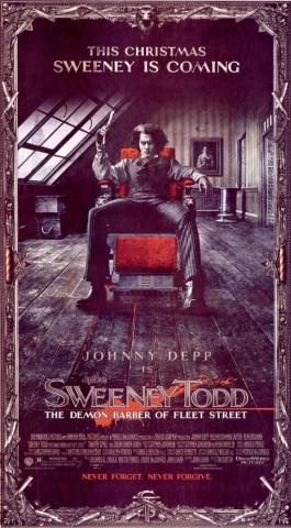 плакат фильма Суини Тодд, демон-парикмахер с Флит-стрит