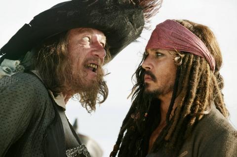 кадры из фильма Пираты Карибского моря: На краю света Джеффри Раш, Джонни Депп,
