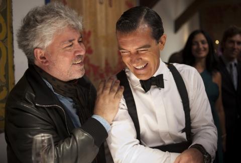 со съемок Кожа, в которой я живу Педро Альмодовар, Антонио Бандерас,