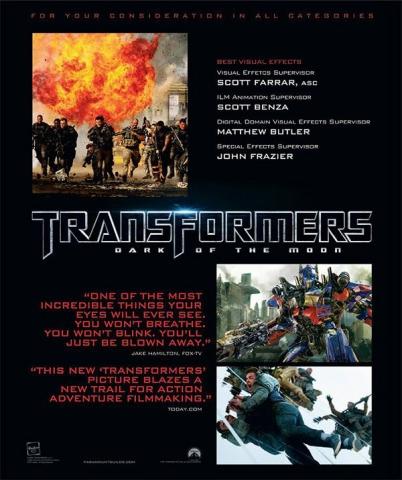 плакат фильма «Оскаровская» кампания Трансформеры 3: Темная сторона Луны