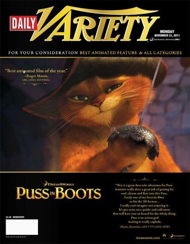 плакат фильма «Оскаровская» кампания Кот в сапогах
